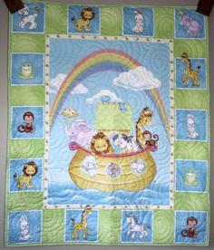 Precious Moments Noah's Ark Quilt Crib/Lap/Wall by carsondesign