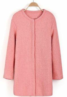 Pink Long Sleeve Simple Design Woolen Coat pictures