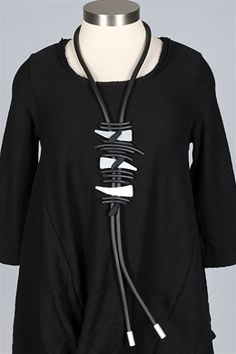 Luukaa - Rubber Cord Necklace - Black & Silver