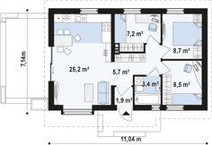 Проект дома Z139 - план-схема 1 3d House Plans, Simple House Plans, Vintage House Plans, Studio Apartment Floor Plans, Apartment Plans, Bedroom House Plans, Sims House, Interior Design Kitchen, Home Projects
