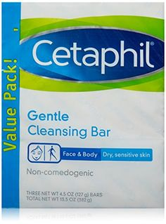 Cetaphil Gentle Cleansing Bag Soap Non-Comedogenic For Dry Sensitive Skin 3 Bar Dove Body Wash, Soap For Sensitive Skin, Facial Bar, Skin Dermatologist, Cetaphil, Lighten Skin, Skin So Soft, Travel Size Products, Bar Soap