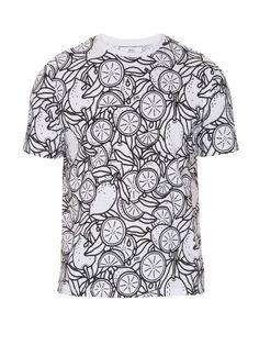 Lemon-print cotton-jersey t-shirt by AMI AU$136