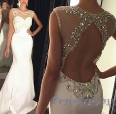 Custom Made Beading Prom Dress,Sexy Backless Evening Dress,See Through Party Dress