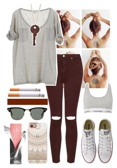 """""""Simple."""" by sophiabotelho ❤ liked on Polyvore featuring Topshop, Vanessa Bruno, Calvin Klein, Converse, Ray-Ban and Casetify"""
