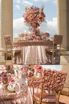 Frilly pink wedding linens