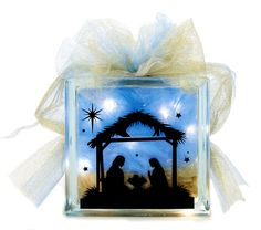 Nicole™ Crafts Nativity Glass Block #christmas #glassblock