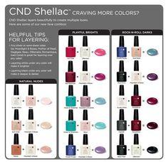 CND Shellac Layering http://www.cnd.com/pro-products/cnd-shellac/cnd-shellac-colors/meet-colors                                                                                                                                                                                 More