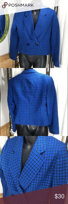 """Rad Retro 80's Pendleton Wool Blazer Petite This Pendleton blazer is so 80's retro it's rad! We're talking straight off the set of Working Girl.  100% virgin wool.  Made in the USA.  Petite, size 6.  Fully lined and built in shoulder pads.  Good condition but minor discoloration in the liner of the armpit.  Measurements (flat): armpit to armpit: 18.25""""; shoulder to shoulder: 15.5""""; waist: 16.5""""; length: 19""""; sleeve: 21.5""""; bottom: 18.25"""". Pendleton Jackets & Coats Blazers"""