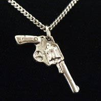 Hand made silver gun pendant by Pure Brass Neck available at Franny & Filer jewellery shop in Chorlton - www.frannyandfiler.com - £30
