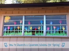 How to Decorate a Classroom Window for Spring. Would work a bulletin board, too…