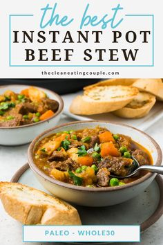 An Easy Instant Pot Beef Stew Recipe everyone will love! This quick beef soup is delicious, healthy, hearty and so tender from the pressure cooker. We like to add red wine for flavor but there are so many ways to customize it! Truly the best instant pot stew! Slow Cooker Chicken Stew, Pressure Cooker Beef Stew, Easy Beef Stew, Healthy Gluten Free Recipes, Whole30 Recipes, Lunch Recipes, Healthy Dinner Recipes, Easy Whole 30 Recipes, Easy Clean Eating Recipes
