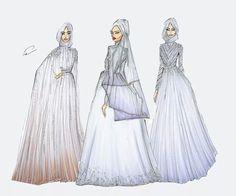 By shahd Muslim Fashion, Hijab Fashion, Fashion Art, Fashion Dresses, Girl Fashion, Fashion Design, Dress Sketches, Fashion Sketches, Muslim Wedding Gown