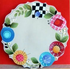 Scalloped Cheese Plate Packet by Shara Reiner CDA Tole Decorative Paintings, Tole Painting Patterns, Wood Patterns, Flower Patterns, Painted Plates, Hand Painted, Ceramic Plates, Craft Paint Storage, Paint Your Own Pottery