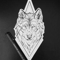 Wolf geometric tattoo and dotwork by Broken Ink instragram broken_tattoo. Tattoo Bicep, Tattoo Knee, Throat Tattoo, Wolf Tattoos, Animal Tattoos, Eagle Tattoos, Geometric Wolf Tattoo, Geometric Mandala, Mandala Wolf