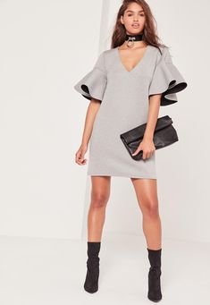 Missguided - Grey Frill Sleeve Scuba Dress