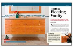 Floating modern vanity with all doors cut from the same veneered panel so that the face of the entire veneer sheet comprises the entire front of the vanity.  A full article detailing how the whole vanity was built and hung.  Video available to online members of the magazine.  Designed and built by Nancy Hiller.  Article appears in July 2013 FineHomebuilding Magazine.