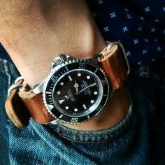 Rolex Submariner 14060m on leather NATO strap