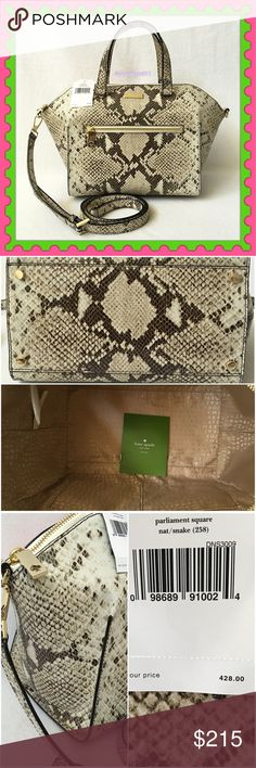 """♠️Authentic Kate Spade Exotic Leather Handbag♠️  AUTHENTIC! Gorgeous exotic leather bag from Kate Spade  Lightweight & very spacious. Length is approximately 16"""" Height is 8 1/2"""" Width 6"""" w/ adjustable detachable long strap. Very versatile! Top handle, crossbody & shoulder bag. Bottom feet for protection. 3 interior pocket, 1 exterior front compartment. Yellow gold tone hardware. Pristine condition. Color: Snake♥️ NO TRADE ❌ Kate Spade Bags Satchels"""