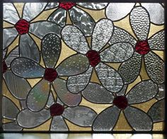Stained Glass Daisy Panel by BlueFishStudios on Etsy