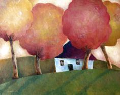 Cottage under Autumn Canopy, Jeremy Mayes Tavlor, Glicée & Canvas från Easyart.se