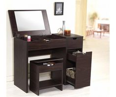 Modern Vanity Set with Flip Top Mirror Makeup and Dressing Table and Stool with Drawer and Storage Organizers by Ottmar Furniture Bedroom Vanity Set, Vanity Table Set, Vanity Set With Mirror, Vanity Desk, Bedroom Mirrors, Bedroom Vanities, Table Mirror, Contemporary Vanity, Modern Vanity
