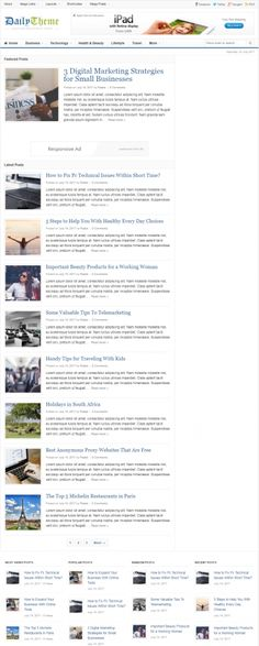 Daily is a popular magazine style wordpress theme developed by theme junkie.A perfect theme for newspaper and blogging websites.Display multiple posts at the top in featured posts slider.Custom widgets will help to display your latest posts in a best way.