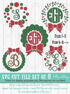 Monogram SVG File Set of 8 cut files includes by LillyAshley