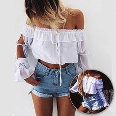Fashion Slash Neck Side Slit Sleeve Cropped Blouse