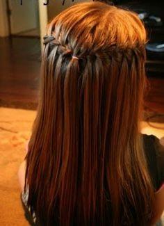 Waterfall braid hairstyle tutorials