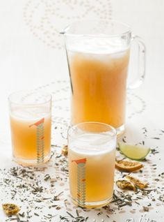Thé glacé à la Pèche, Gingembre et Basilic