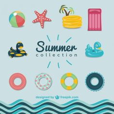 Summer pool graphics set Free Vector