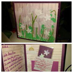 Geburtstagskarte gebastelt mit Kind, viel Fingermalfarbe und selbst gestalteten Rubbellosen in eigener Tasche und einem 1 € Stück. Die Rubbellose habe ich genau wie die Karte gestaltet und dann einlaminiert.