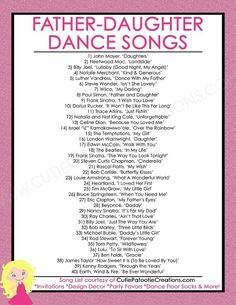 Father Daughter Dance Songs for Mitzvahs and Weddings – Top 40 Songs – FREE Printable List FREE Printable List of Top 40 Father Daughter Dance Songs for Bat Mitzvah, Weddings, Sweet 16 and Quinceaneras by Cutie Patootie Creations. Wedding Dance Songs, Wedding Playlist, Wedding Music, Wedding Song List, Country Wedding Songs, Country Weddings, Wedding Songs Reception, Best Wedding Songs, Wedding Party Songs