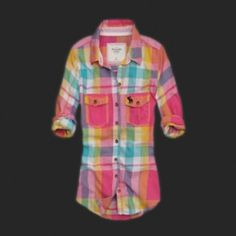 Abercrombie Fitch Womens Plaid Shirt Red Yellow