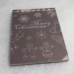 Bloc notes de noel motif pain d'épice et merry christmas reliure japonaise