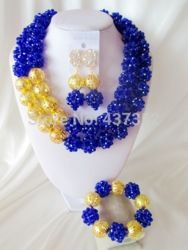 Online Shop NEW! Royal Blue Handmade African Beads Jewelry Set Nigerian Wedding Beads Bridal Jewelry Set Free Shipping CPS-3048|Aliexpress Mobile
