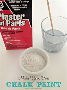 I make my own version by using plain interior paint mixed with Plaster of Paris (affiliate link). You can find Plaster of Paris at Home Depot or Lowe's and it's really cheap. All you do is mix 5 tablespoons of Plaster of Paris with 2 cups of paint and 2 tablespoons of water. Just combine ingredients and stir well. It may even be a little lumpy, but that's okay. Once you brush it on, it evens out.