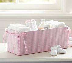Light Pink Gingham Changing Table Storage #pbkids