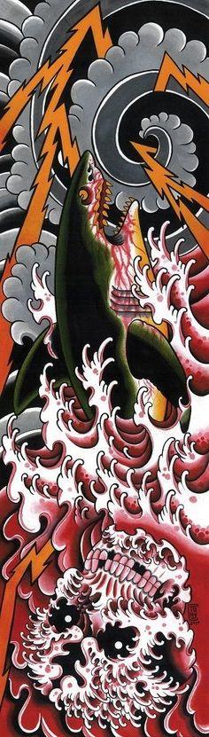 Bloody Waters by Tony Carey Shark Attack Asian Tattoo Artwork Canvas Art Print