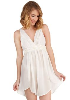 Dreamy Come True Nightgown. You cant imagine a dreamier way to unwind than in the flowing chiffon of this ivory nightgown by Flora Nikrooz! #gold #prom #modcloth