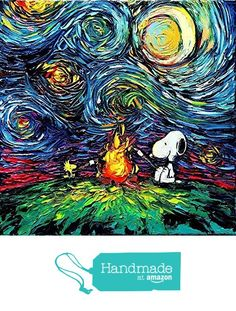 Snoopy Inspired Art Print - Peanuts Art - Starry Night - van Gogh Never Toasted Marshmallows - Art by Aja 8x8, 10x10, 12x12, 20x20, 24x24 inch sizes from Sagittarius Gallery https://smile.amazon.com/dp/B01GWMS67I/ref=hnd_sw_r_pi_dp_ZgCzybJNTFPF7 #handmadeatamazon