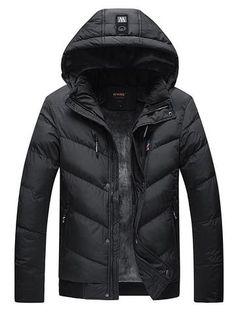 BAMan Men Solid Color Concealed Zipper 4 Pocket Cotton Filled Hooded Parka
