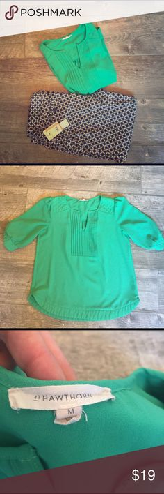 Hawthorn blouse. Mint green shirt from Stitch Fix. Medium. Fits true. Great spring outfit. Has great detail. Hawthorn Tops Blouses