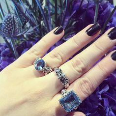 Our Winged Gem in Blue Topaz Small Skull & Fleur De Lys and Square Gem also in Blue Topaz. #rockandrolljewelry #thegreatfrog #thegreatfrogla