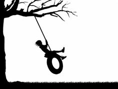 silhouette+swing   silhouette animation graphic depicting a girl playing on a tire swing ...