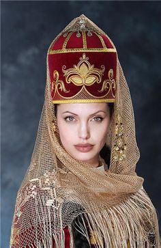 Kabarday bridal headgear. The Kabardin still consider themselves as a tribe of Adyghe (Çerkes/Circissian).  Style: late 19th century.