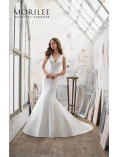 MORI LEE 5506 MARLENA Satin Flit And Flare Dress Ivory/Nude