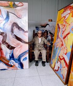 Willem de Kooning in his studio, East Hampton, Long Island, 1982, with Untitled VII, 1982 and Untitled, 1970