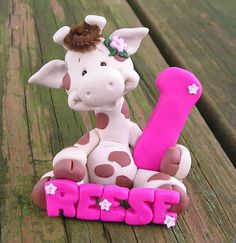 CAKE TOPPER HAND MADE Animal with NAME and NUMBER cake topper 2 to 3 inches tall by jc2177, $20.99