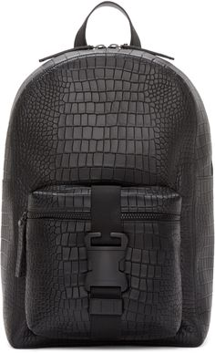 Christopher Kane Black Leather Digi Croc Backpack